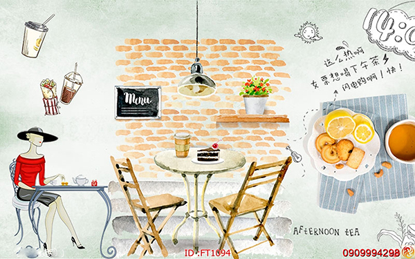 tranh tường trang trí quán cafe
